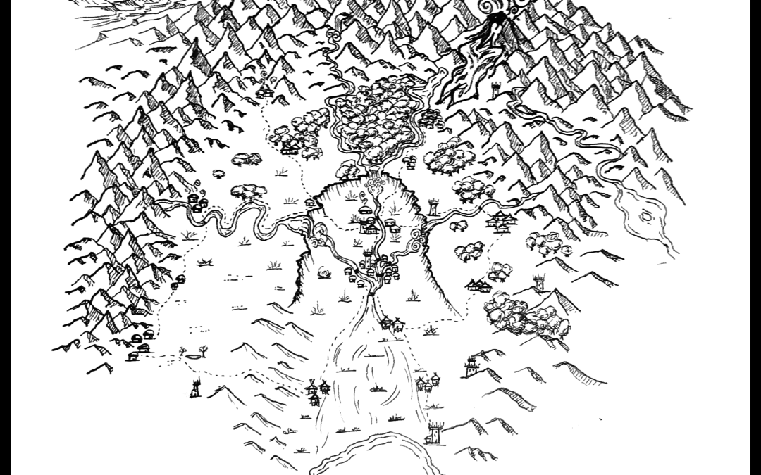 Map of a dried river basin with city in the center, ocean at bottom, and mountains on top, right and left. Map of the world of the Clanblades Series by R. K. Thorne